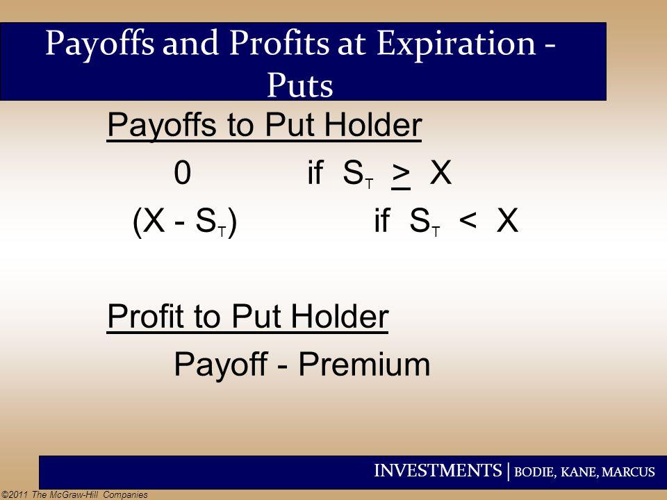 Payoffs and Profits at Expiration - Puts