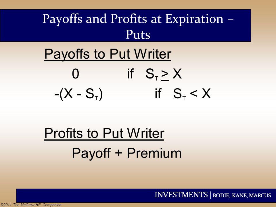 Payoffs and Profits at Expiration – Puts