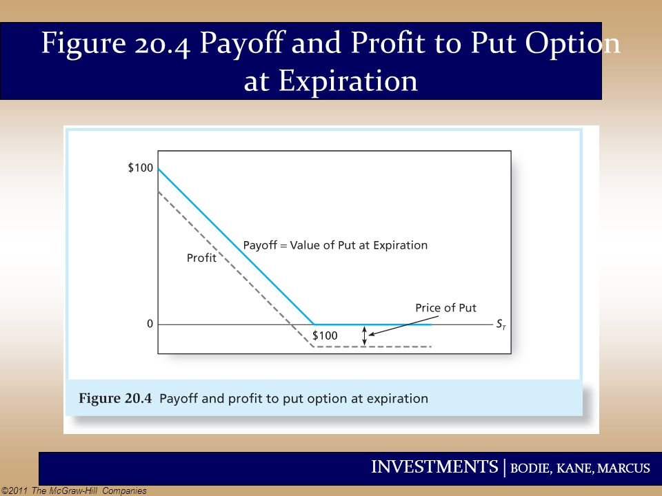 Figure 20.4 Payoff and Profit to Put Option at Expiration