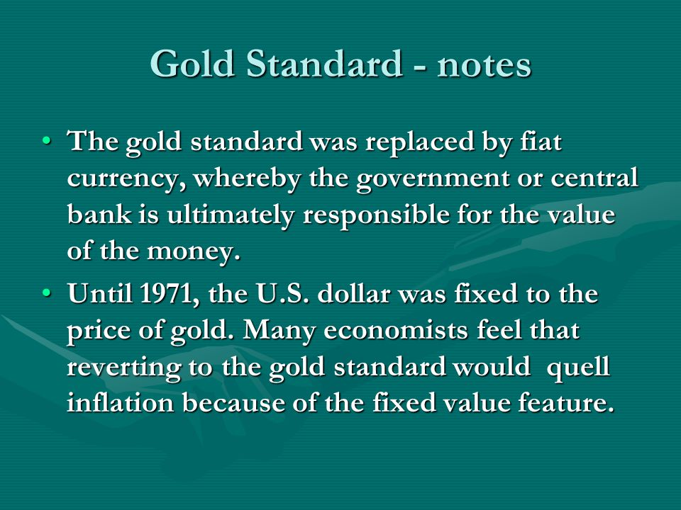 Gold Standard - notes