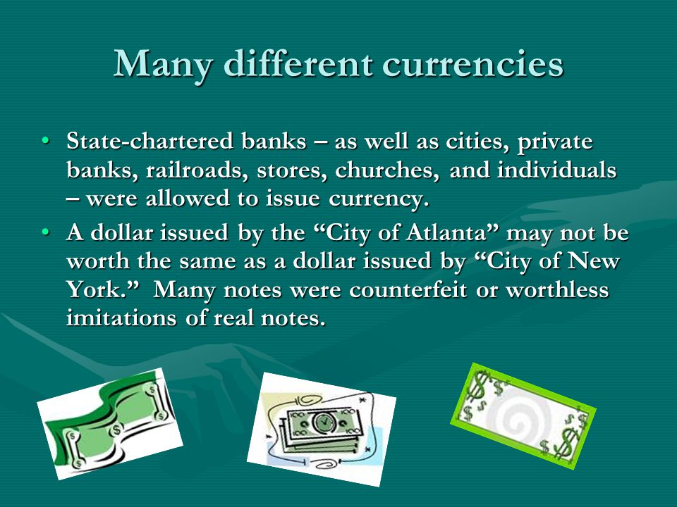 Many different currencies