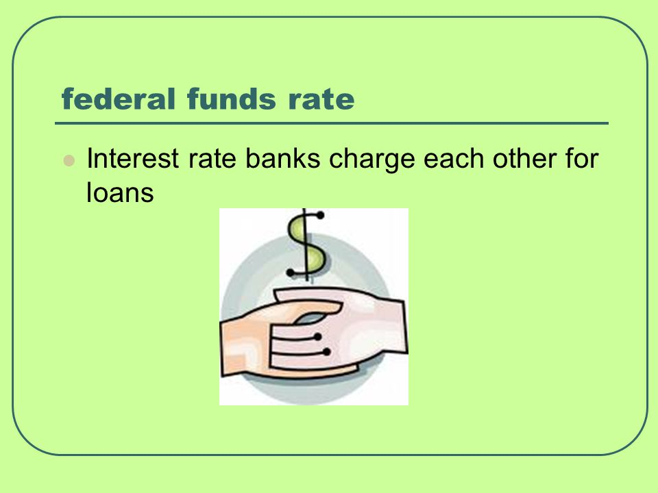 federal funds rate Interest rate banks charge each other for loans