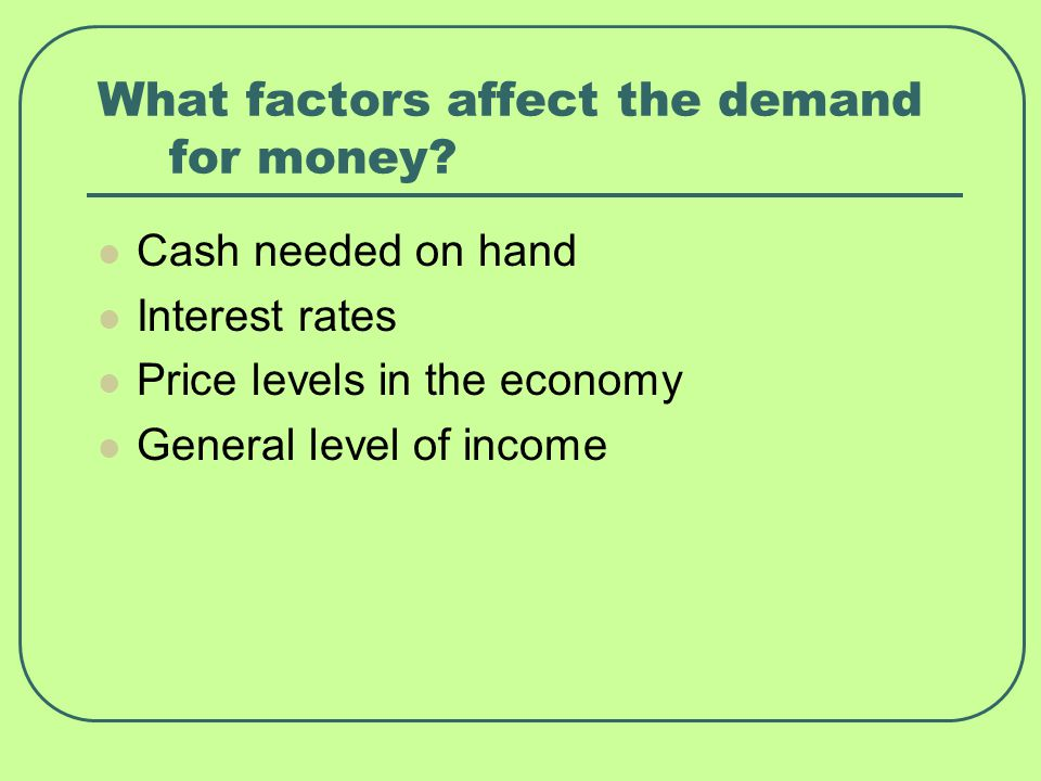 What factors affect the demand for money