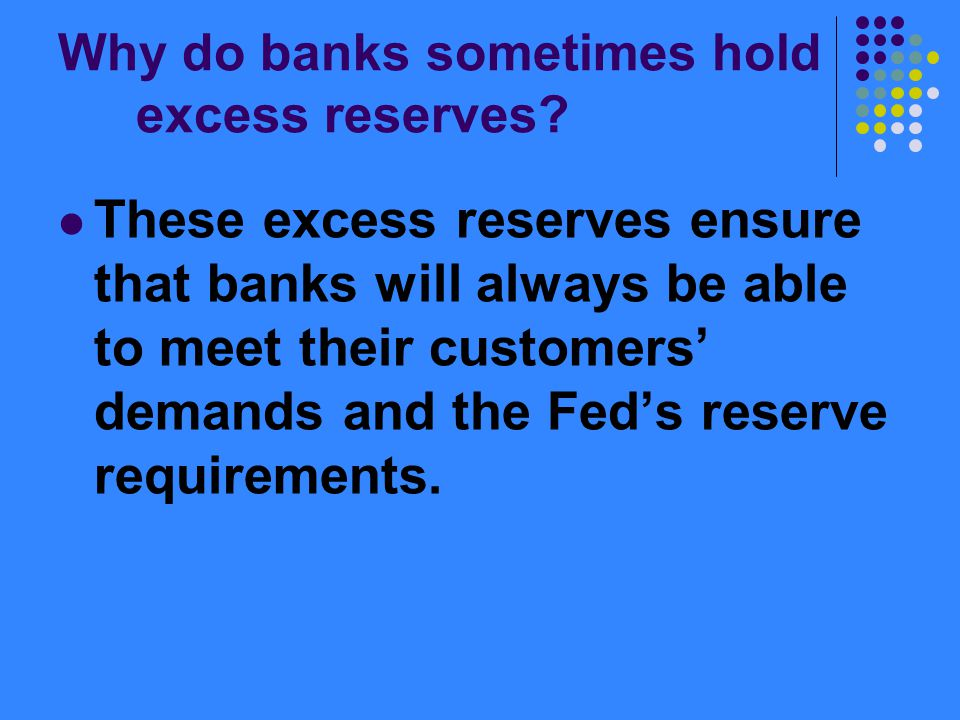 Why do banks sometimes hold excess reserves