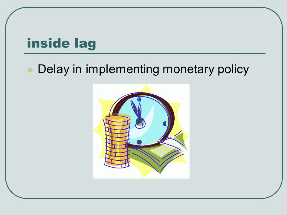 inside lag Delay in implementing monetary policy