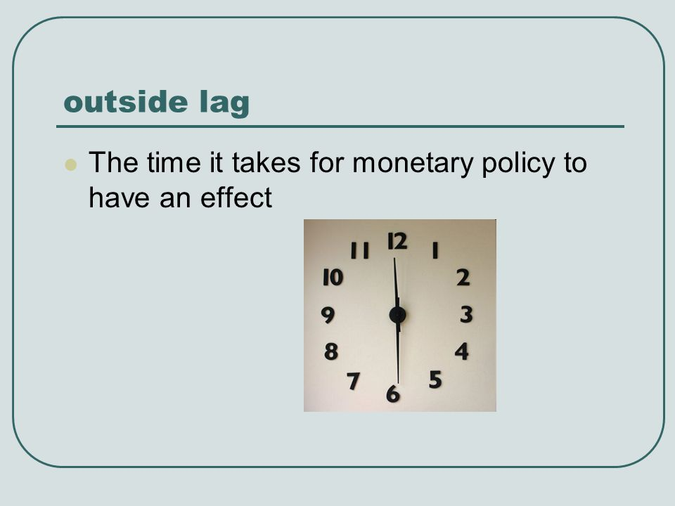 outside lag The time it takes for monetary policy to have an effect