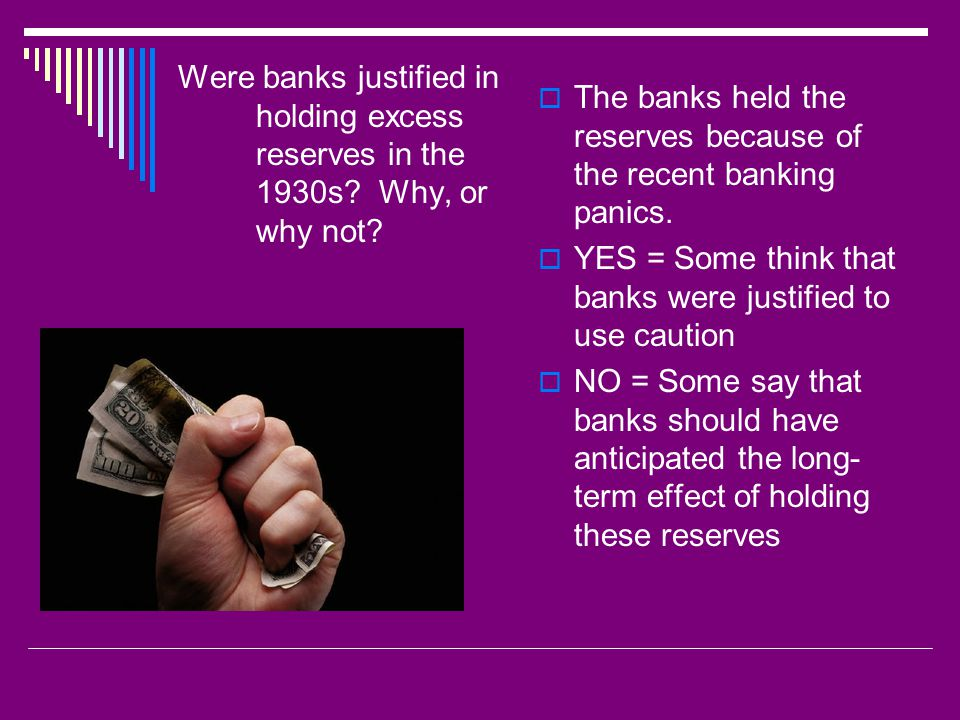Were banks justified in holding excess reserves in the 1930s