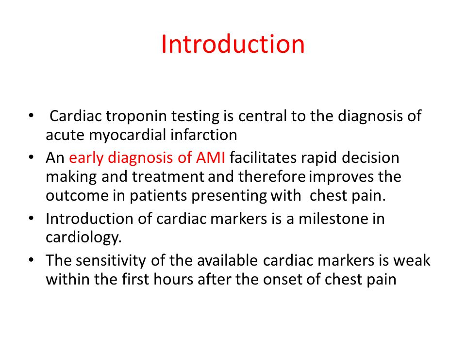 Introduction Cardiac troponin testing is central to the diagnosis of acute myocardial infarction.