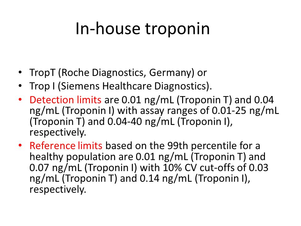 In-house troponin TropT (Roche Diagnostics, Germany) or