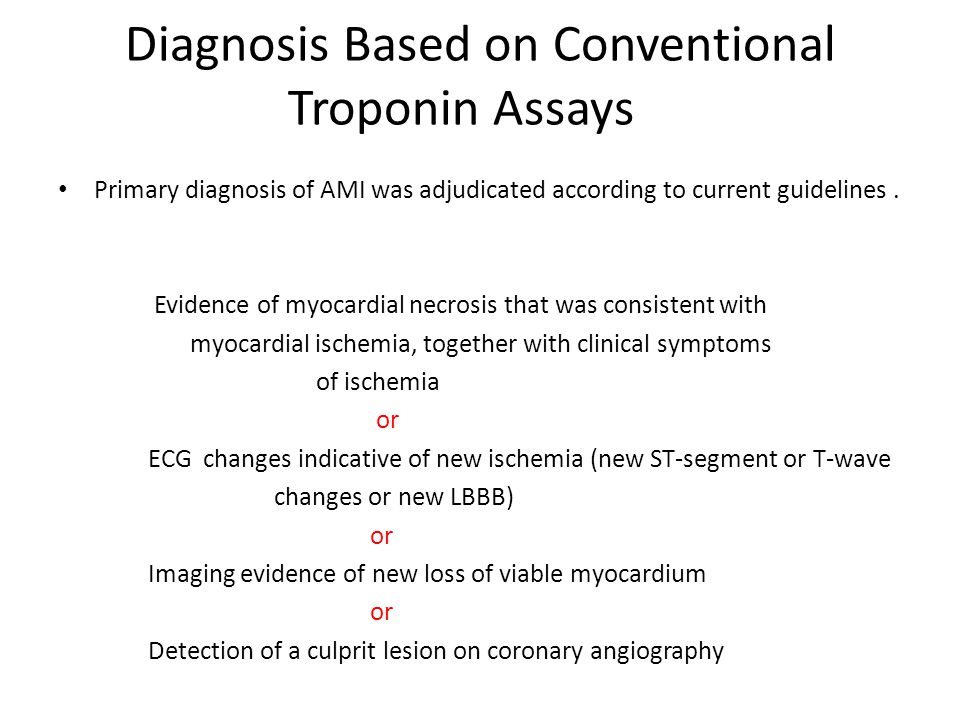 Diagnosis Based on Conventional Troponin Assays