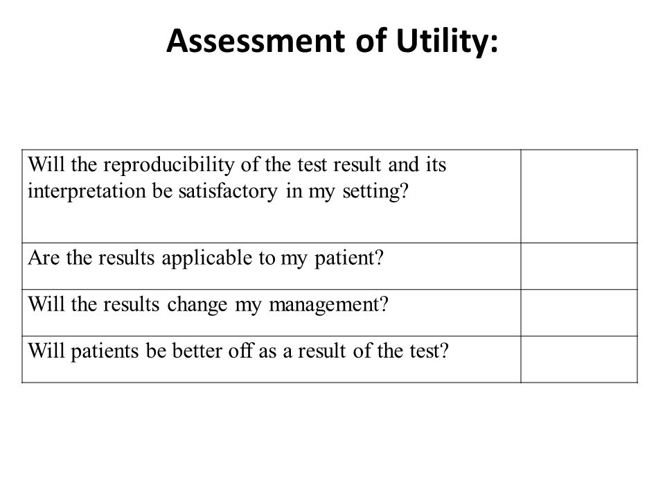 Assessment of Utility: