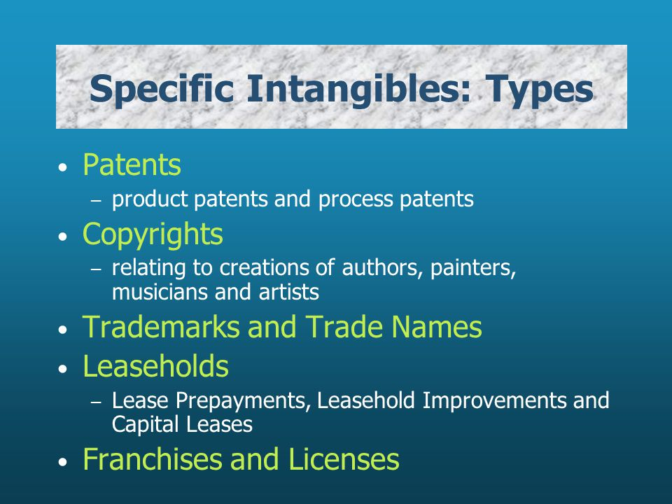 Specific Intangibles: Types