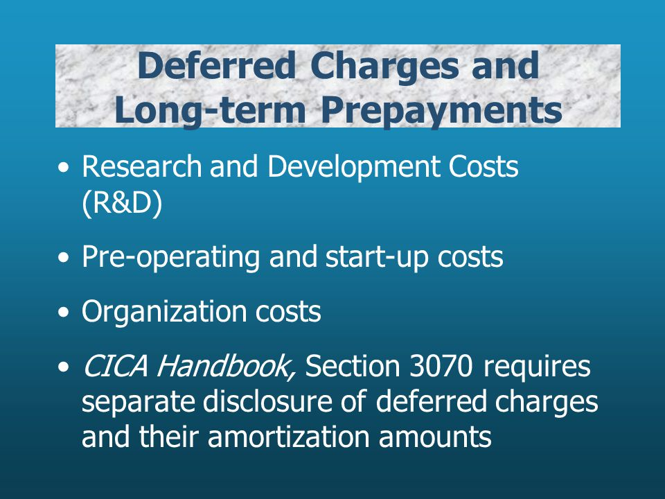 Deferred Charges and Long-term Prepayments