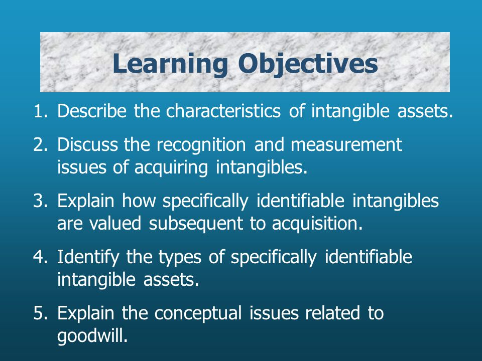 Learning Objectives 1. Describe the characteristics of intangible assets.