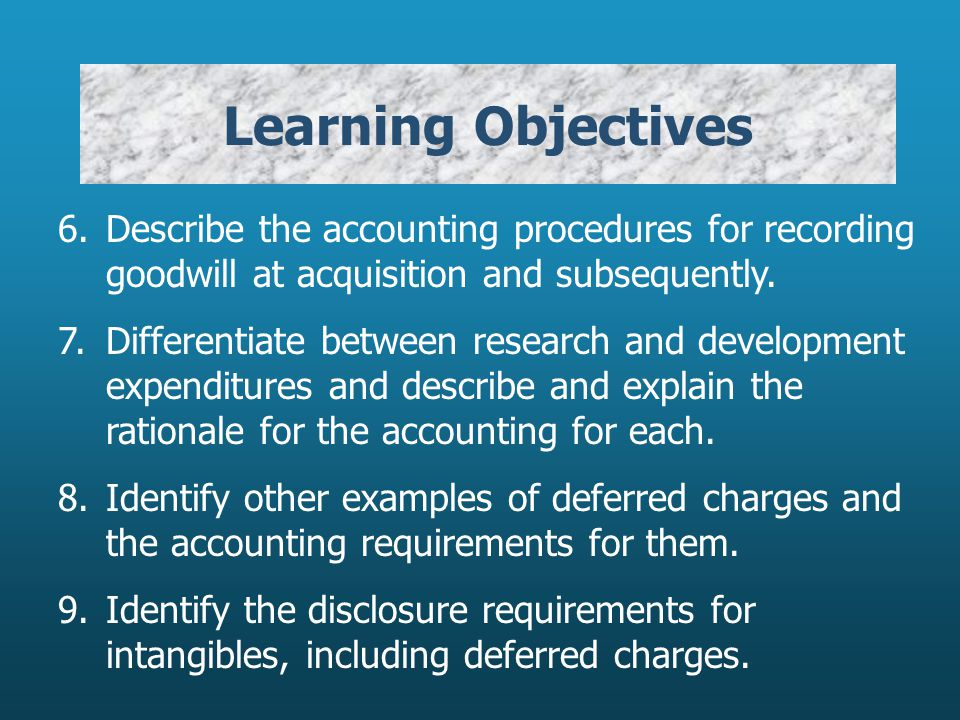 Learning Objectives 6. Describe the accounting procedures for recording goodwill at acquisition and subsequently.