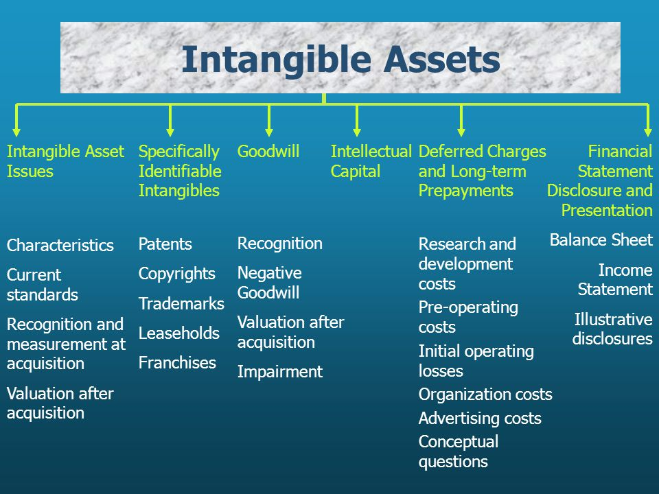 Intangible Assets Intangible Asset Issues Characteristics