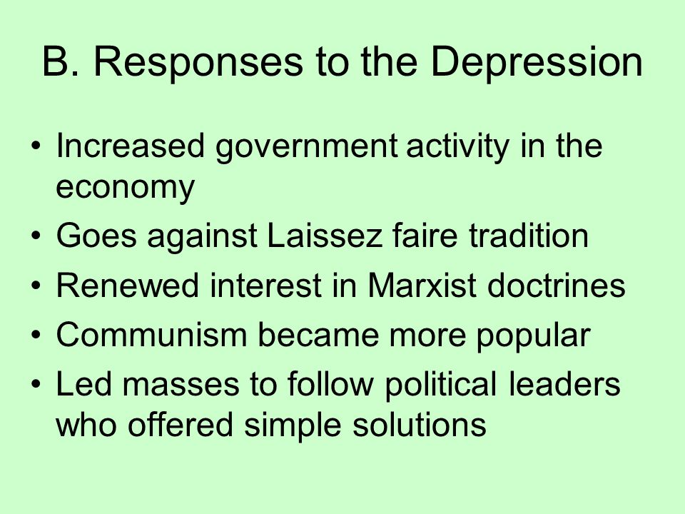 B. Responses to the Depression
