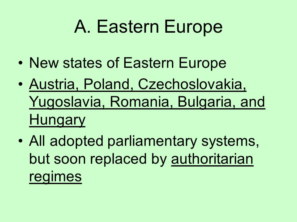 A. Eastern Europe New states of Eastern Europe