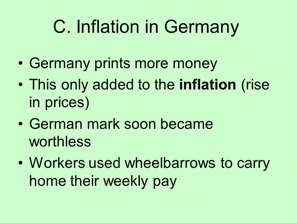 C. Inflation in Germany Germany prints more money