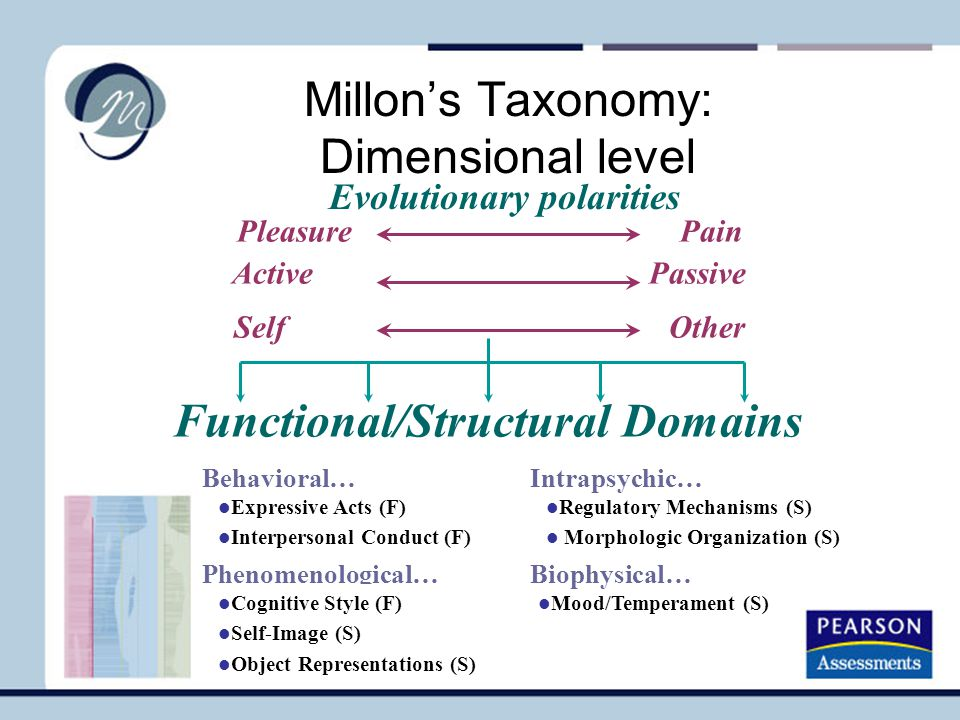 Millon's Taxonomy: Dimensional level