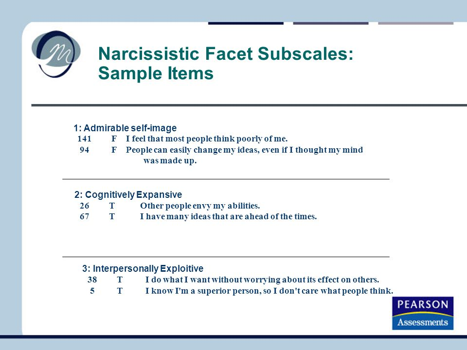 Narcissistic Facet Subscales: Sample Items
