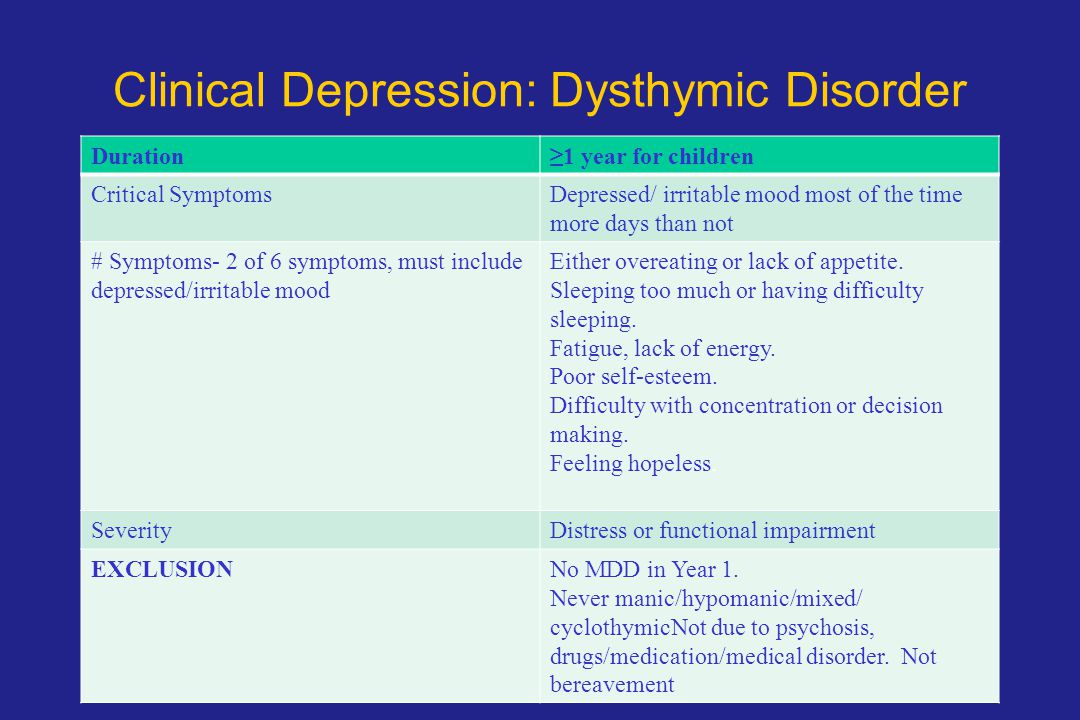 Clinical Depression: Dysthymic Disorder