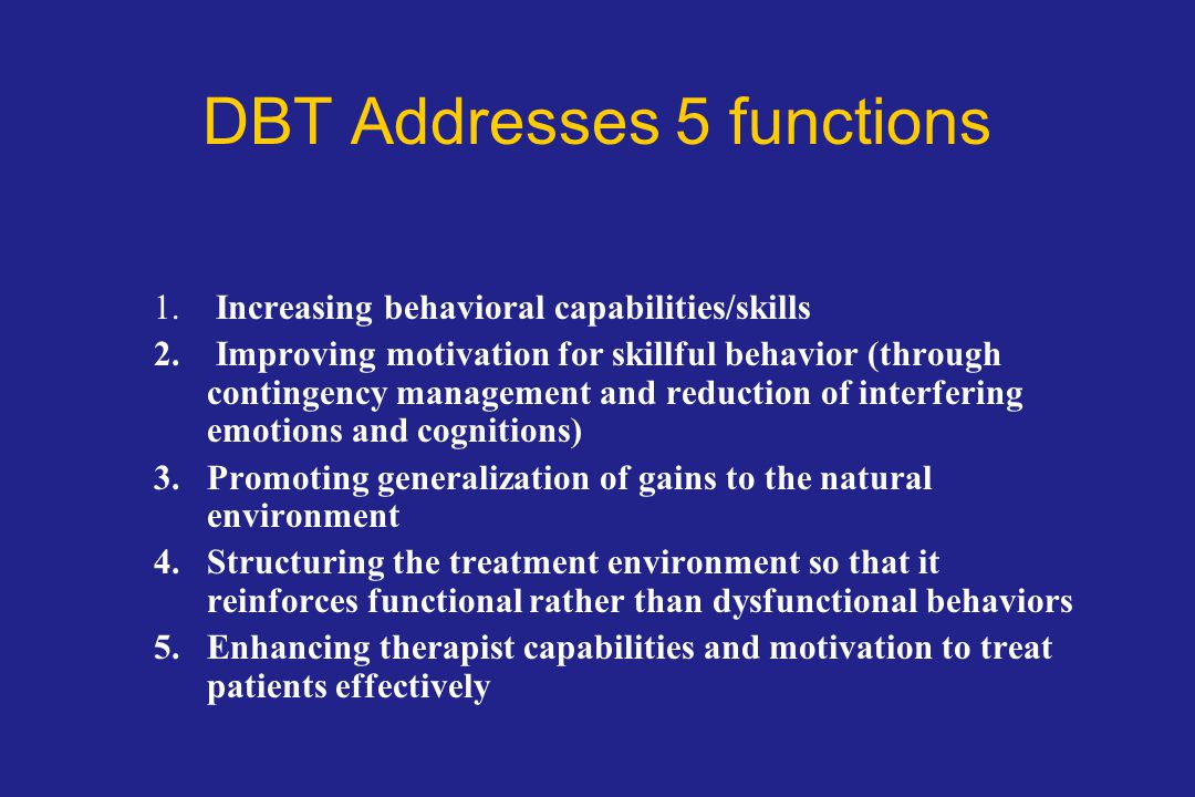 DBT Addresses 5 functions