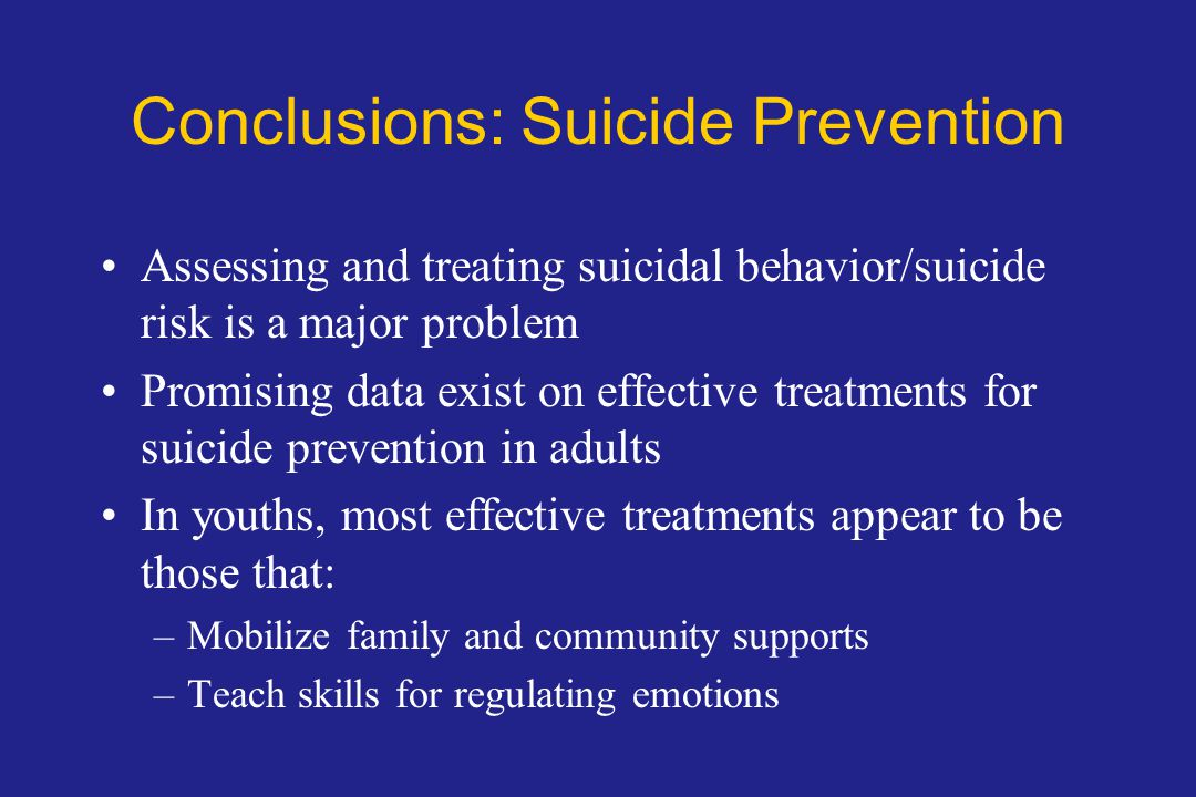 Conclusions: Suicide Prevention