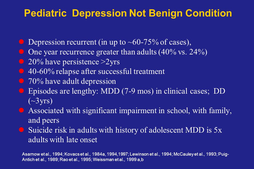 Pediatric Depression Not Benign Condition