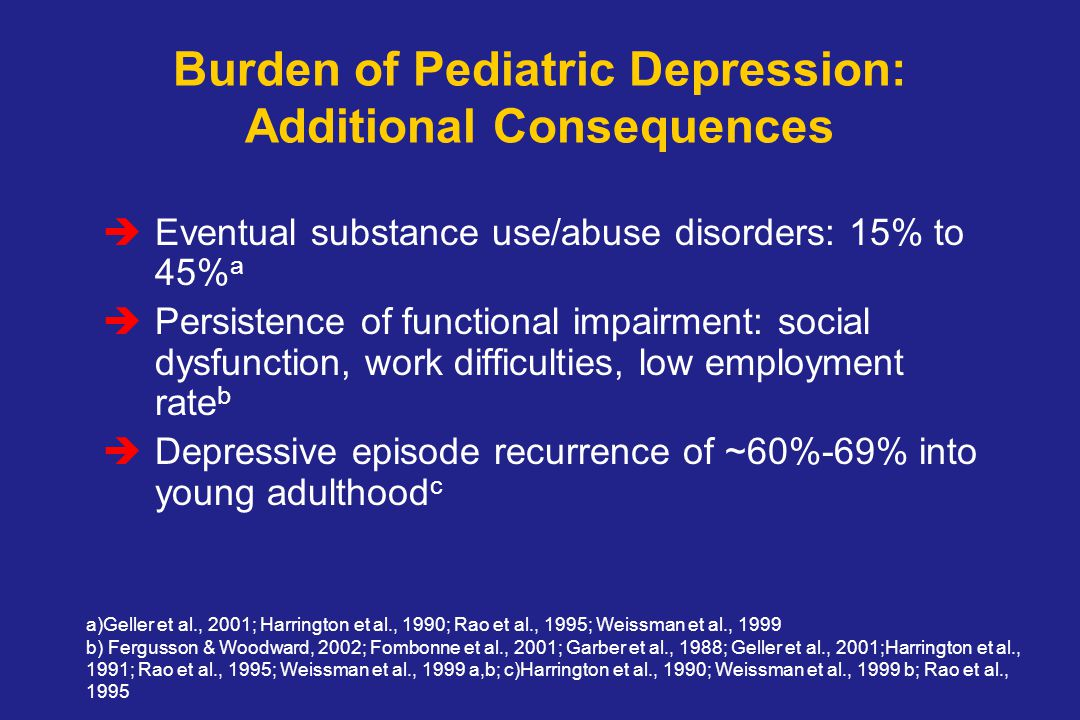 Burden of Pediatric Depression: Additional Consequences