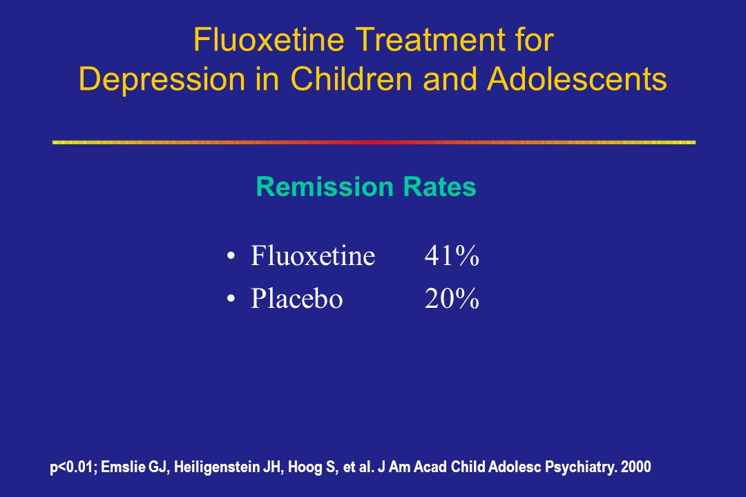 Fluoxetine Treatment for Depression in Children and Adolescents