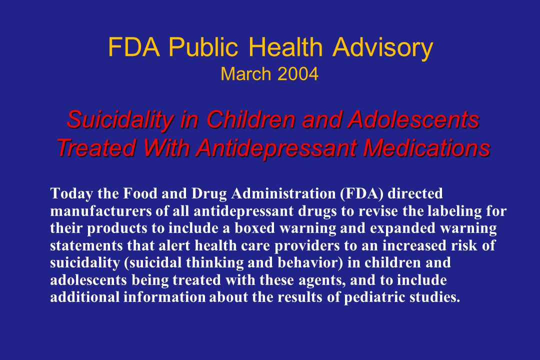 FDA Public Health Advisory March 2004
