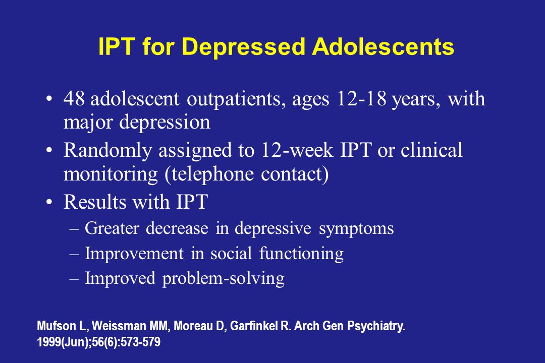 IPT for Depressed Adolescents