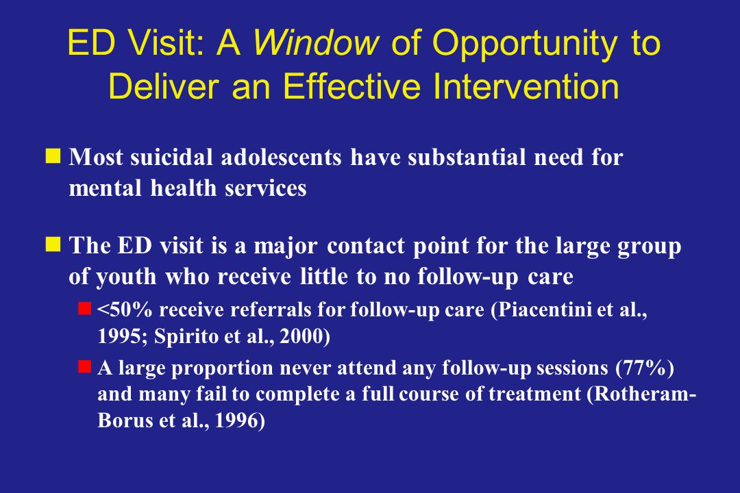ED Visit: A Window of Opportunity to Deliver an Effective Intervention