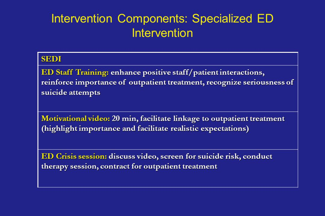 Intervention Components: Specialized ED Intervention