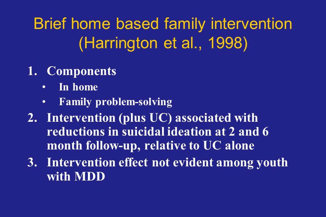 Brief home based family intervention (Harrington et al., 1998)