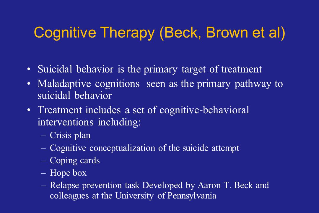 Cognitive Therapy (Beck, Brown et al)