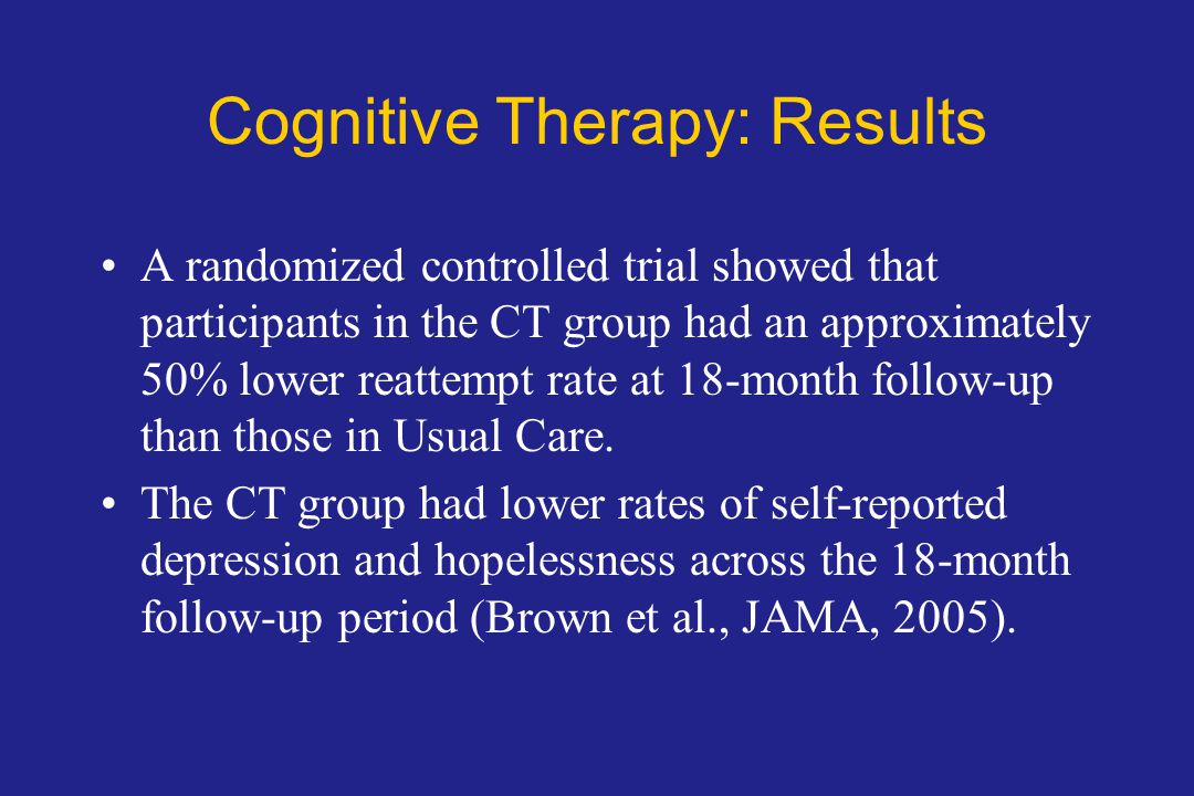 Cognitive Therapy: Results