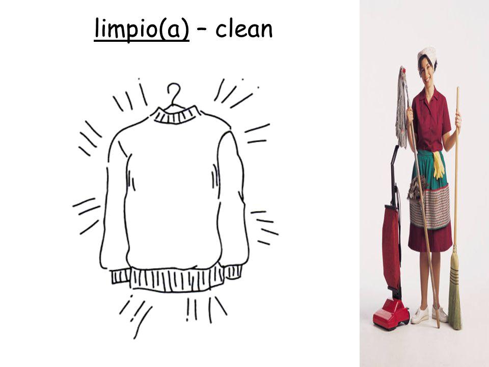 limpio(a) – clean