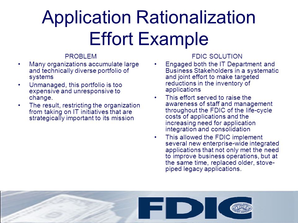 Application Rationalization Effort Example