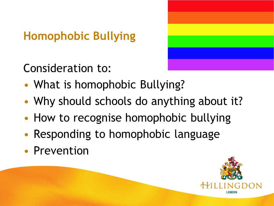Homophobic Bullying Consideration to: What is homophobic Bullying Why should schools do anything about it