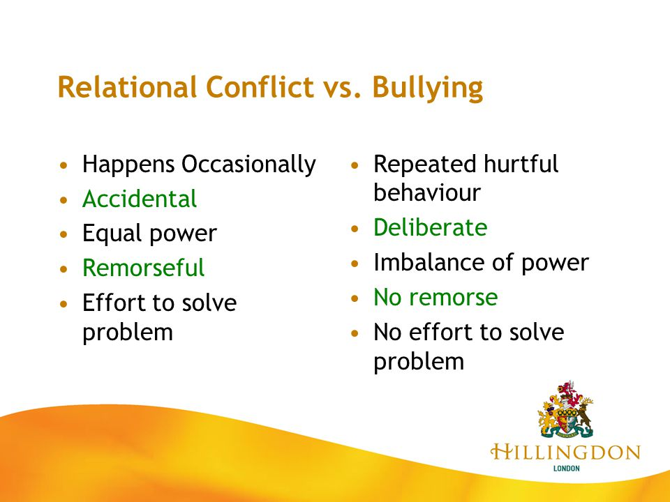 Relational Conflict vs. Bullying