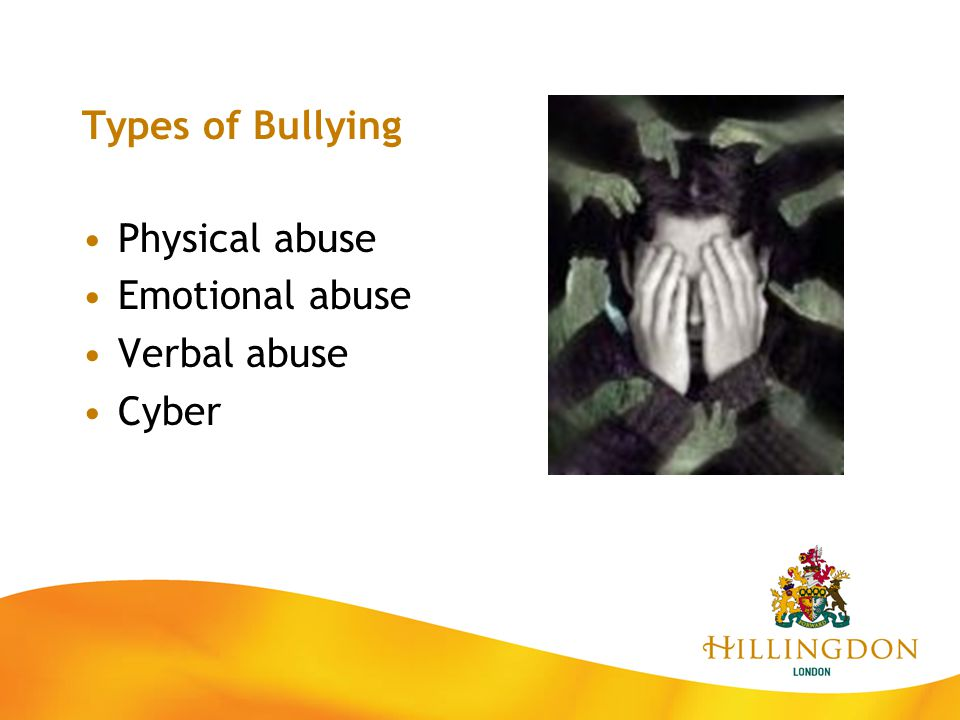 Types of Bullying Physical abuse Emotional abuse Verbal abuse Cyber