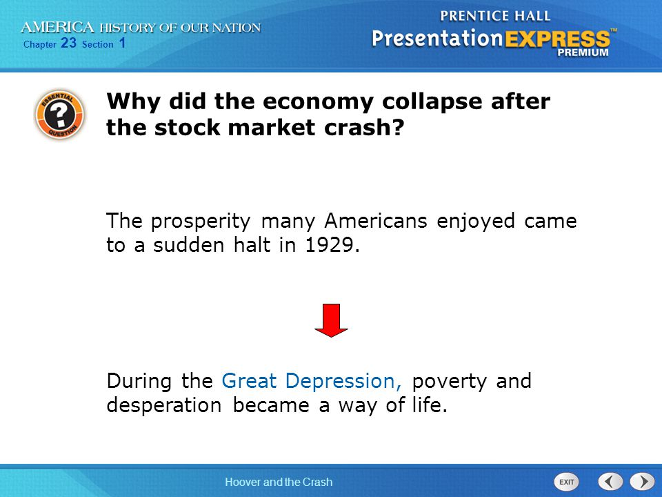 Why did the economy collapse after the stock market crash