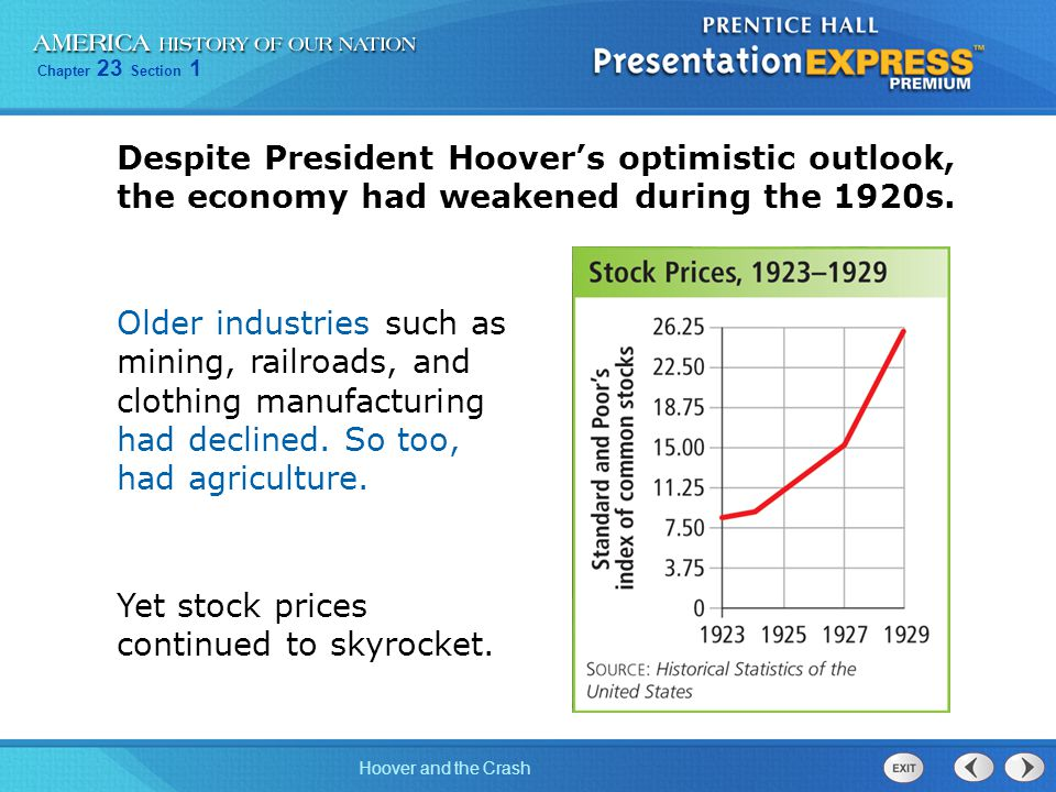 Despite President Hoover's optimistic outlook, the economy had weakened during the 1920s.