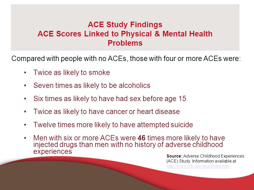 ACE Study Findings ACE Scores Linked to Physical & Mental Health Problems