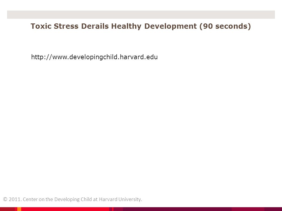 Toxic Stress Derails Healthy Development (90 seconds)