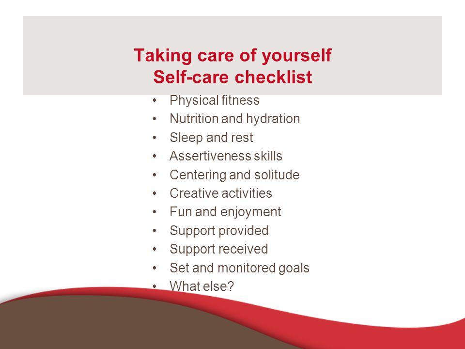 Taking care of yourself Self-care checklist