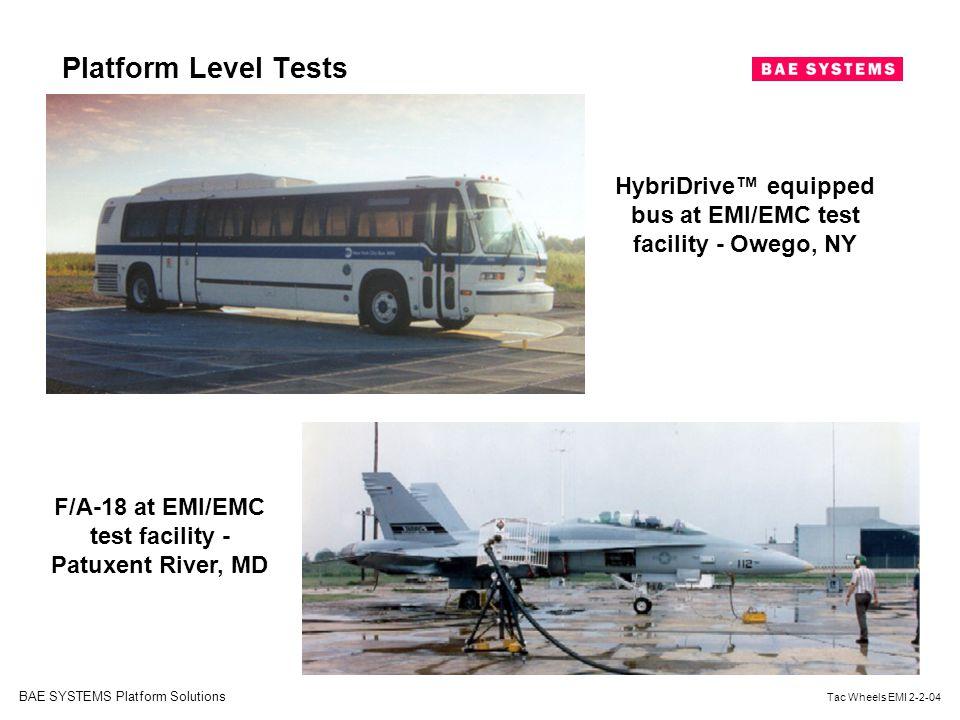 Platform Level Tests HybriDrive™ equipped bus at EMI/EMC test facility - Owego, NY.