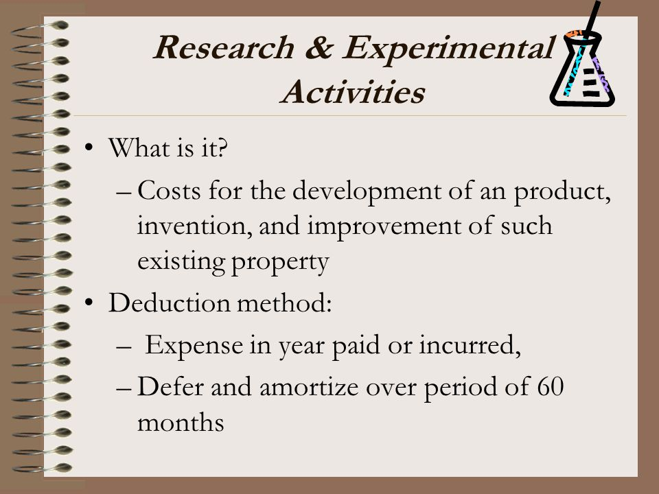Research & Experimental Activities